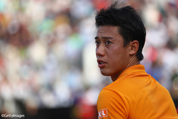※写真はローマの大会での錦織圭 Photo:ROME, ITALY - MAY 18: Kei Nishikori of Japan during the men's third round match against Juan Martin Del Potro of Argentina on Day Five of the Internazionali BNL d'Italia 2017 at the Foro Italico on May 18, 2017 in Rome, Italy. (Photo