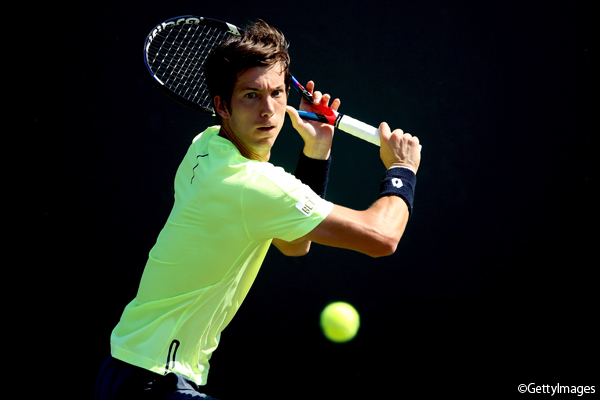 ※写真はマイアミの大会でのアルヤズ・ベデネ Photo: KEY BISCAYNE, FL - MARCH 22: Aljaz Bedene of Great Britain returns ashot to Jan-Lennard Struff of Germany during the Miami Open at the Crandon Park Tennis Center on March 22, 2017 in Key Biscayne, Florida. (Photo by Matthew St