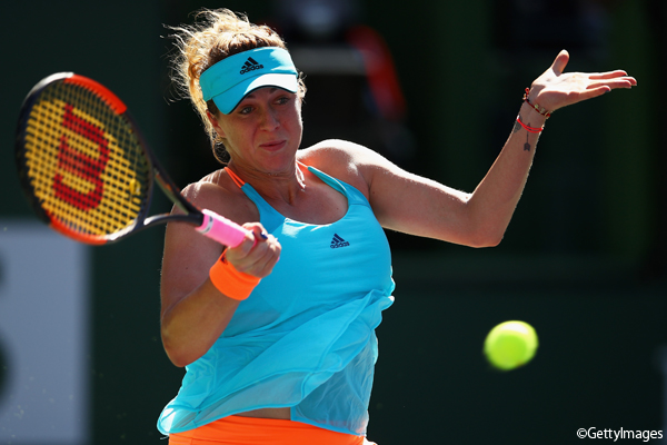 ※写真はインディアンウェルズの大会でのアナスタシア・パブリウチェンコワ Photo:INDIAN WELLS, CA - MARCH 14: Anastasia Pavlyuchenkova of Russia plays a forehand against Dominika Cibulkova of Slovakia in their fourth round match during day nine of the BNP Paribas Open at Indian Wells Tennis Ga