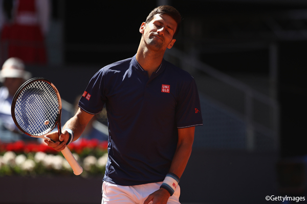※写真は「ムトゥア マドリッド・オープン」(ATP1000)の準決勝で敗れた世界2位のノバク・ジョコビッチ Photo:MADRID, SPAIN - MAY 13: Novak Djokovic of Serbia reacts against Rafael Nadal of Spain in the semi finals during day eight of the Mutua Madrid Open tennis at La Caja Magica on May 13, 2017 in Madr