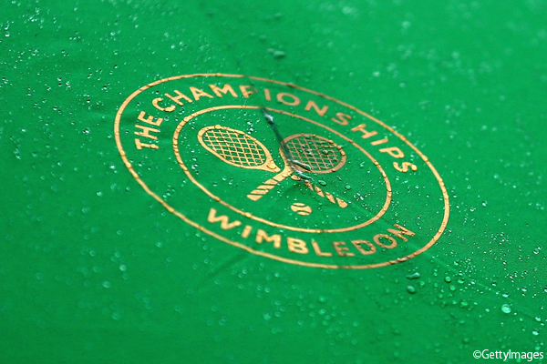 Photo:LONDON, ENGLAND - JUNE 27: An detailed view as rain drops fall onto an umbrella during a rain delay at the 2017 Wimbledon qualifying session on June 27, 2017 in London, England. (Photo by Alex Pantling/Getty Images)