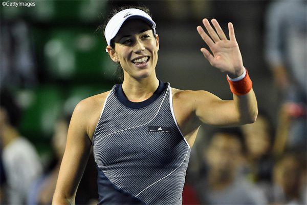 写真は「東レPPO」2回戦でプイグにストレート勝ちを収めた第1シードのムグルッサ Photo:TOKYO, JAPAN - SEPTEMBER 20: Garbine Muguruza of Spain celebrates winning her match against Monica Puig of Puerto Rico during day three of the Toray Pan Pacific Open Tennis At Ariake Coliseum on September 20,