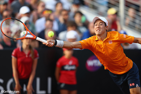 ※写真は「BNL イタリア国際」(ATP1000)の3回戦で敗れた錦織圭 Photo:ROME, ITALY - MAY 18: Kei Nishikori of Japan in action during the men's third round match against Juan Martin Del Potro of Argentina on Day Five of the Internazionali BNL d'Italia 2017 at the Foro Italico on May