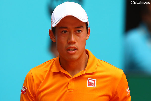 ※写真はマドリッドの大会での錦織圭 Photo:MADRID, SPAIN - MAY 10: Kei Nishikori of Japan celebrates a point during his match against Diego Schwartzman of Argentina on day five of the Mutua Madrid Open tennis at La Caja Magica on May 10, 2017 in Madrid, Spain. (Photo by Cli